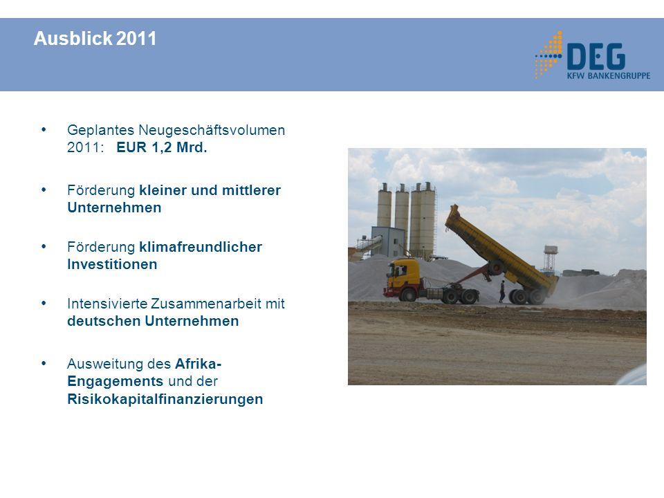 Geplantes Neugeschäftsvolumen 2011: EUR 1,2 Mrd.