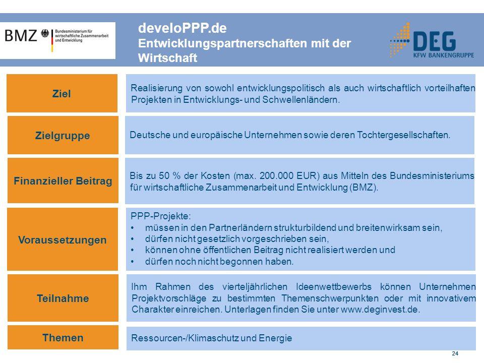 24 develoPPP.de Entwicklungspartnerschaften mit der Wirtschaft Ziel Realisierung von sowohl entwicklungspolitisch als auch wirtschaftlich vorteilhaften Projekten in Entwicklungs- und Schwellenländern.