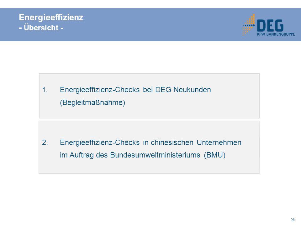 28 Energieeffizienz - Übersicht - 2.Energieeffizienz-Checks in chinesischen Unternehmen im Auftrag des Bundesumweltministeriums (BMU) 1.