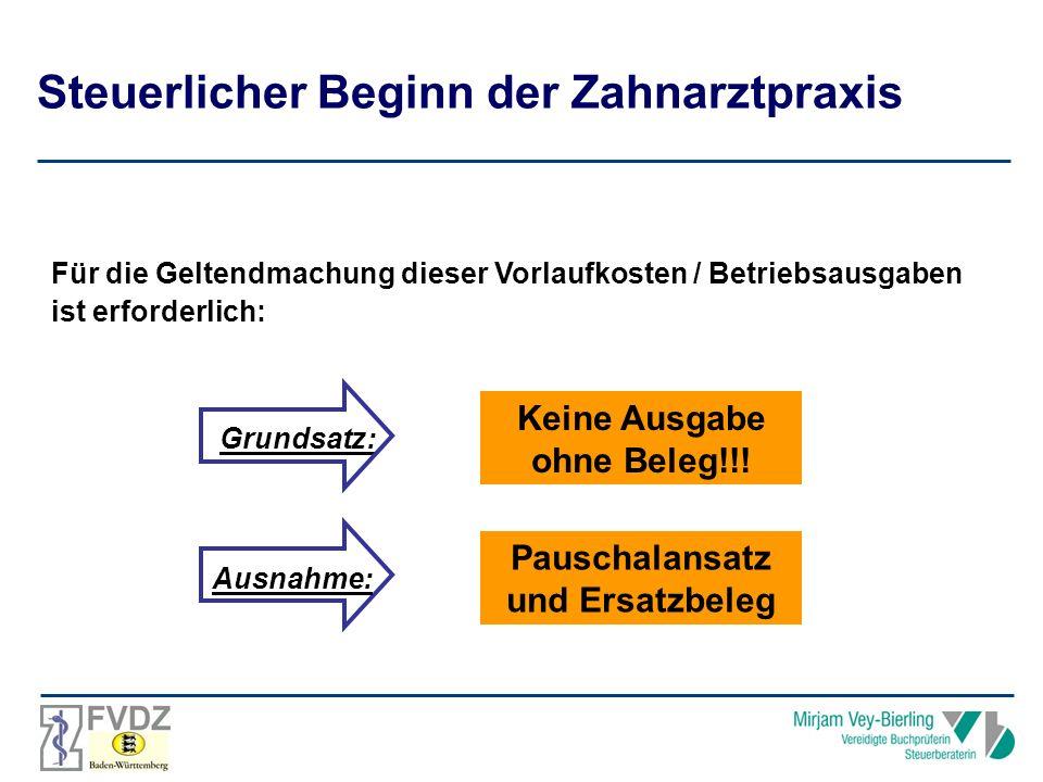 Für die Geltendmachung dieser Vorlaufkosten / Betriebsausgaben ist erforderlich: Grundsatz: Keine Ausgabe ohne Beleg!!.