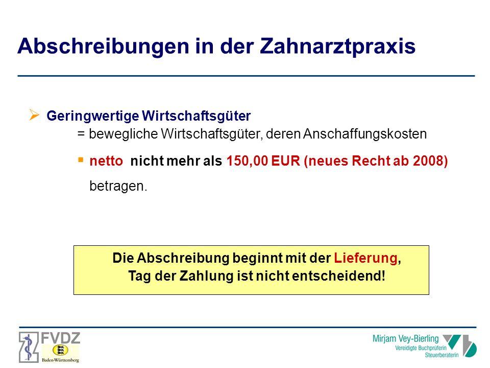 Geringwertige Wirtschaftsgüter = bewegliche Wirtschaftsgüter, deren Anschaffungskosten netto nicht mehr als 150,00 EUR (neues Recht ab 2008) betragen.