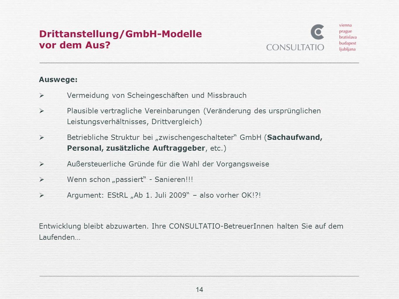 14 Drittanstellung/GmbH-Modelle vor dem Aus.