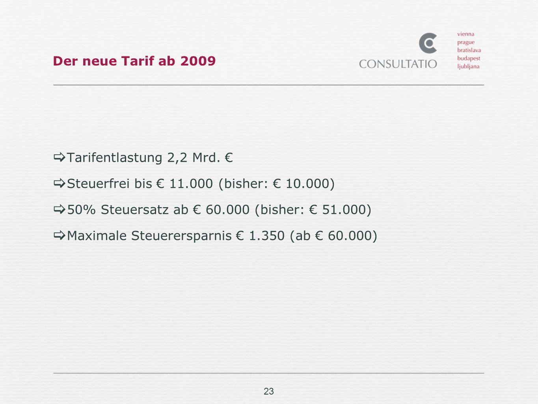 23 Der neue Tarif ab 2009 Tarifentlastung 2,2 Mrd.