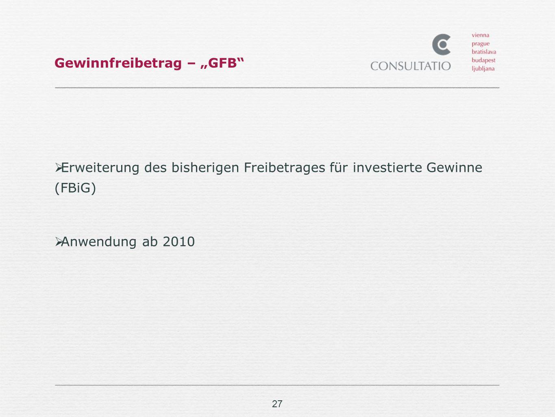 27 Gewinnfreibetrag – GFB Erweiterung des bisherigen Freibetrages für investierte Gewinne (FBiG) Anwendung ab 2010