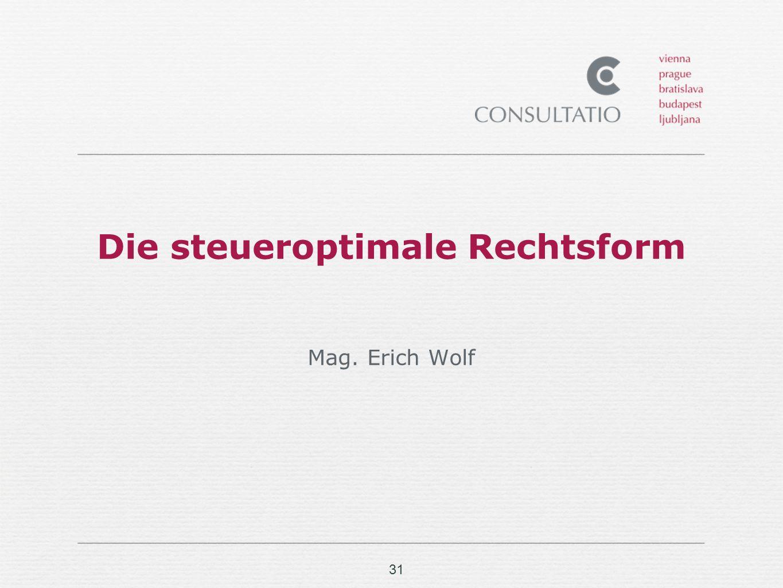 31 Die steueroptimale Rechtsform Mag. Erich Wolf