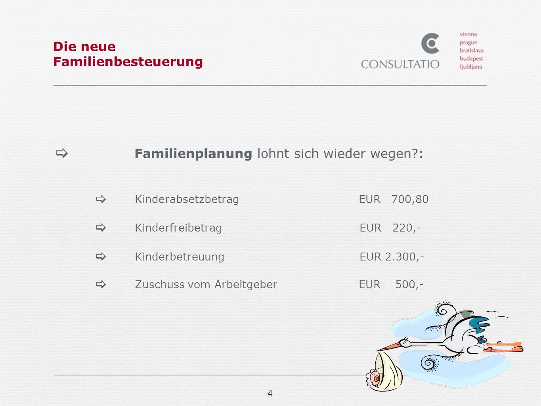 4 Die neue Familienbesteuerung Familienplanung lohnt sich wieder wegen?: Kinderabsetzbetrag EUR 700,80 KinderfreibetragEUR 220,- KinderbetreuungEUR 2.300,- Zuschuss vom Arbeitgeber EUR 500,-
