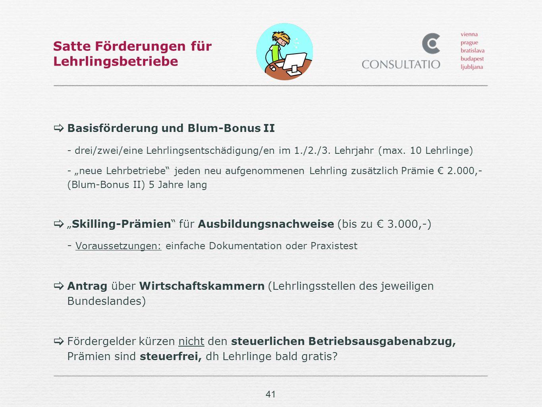 41 Satte Förderungen für Lehrlingsbetriebe Basisförderung und Blum-Bonus II - drei/zwei/eine Lehrlingsentschädigung/en im 1./2./3.