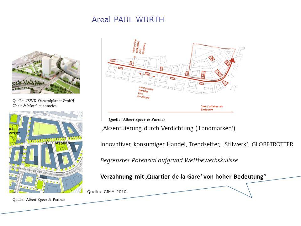 Areal PAUL WURTH Quelle: JSWD Generalplaner GmbH; Chais & Morel et associes Quelle: Albert Speer & Partner Akzentuierung durch Verdichtung (Landmarken
