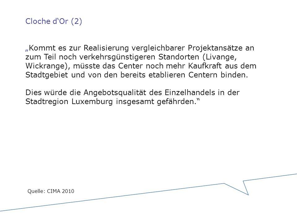 Cloche dOr (2)Kommt es zur Realisierung vergleichbarer Projektansätze an zum Teil noch verkehrsgünstigeren Standorten (Livange, Wickrange), müsste das