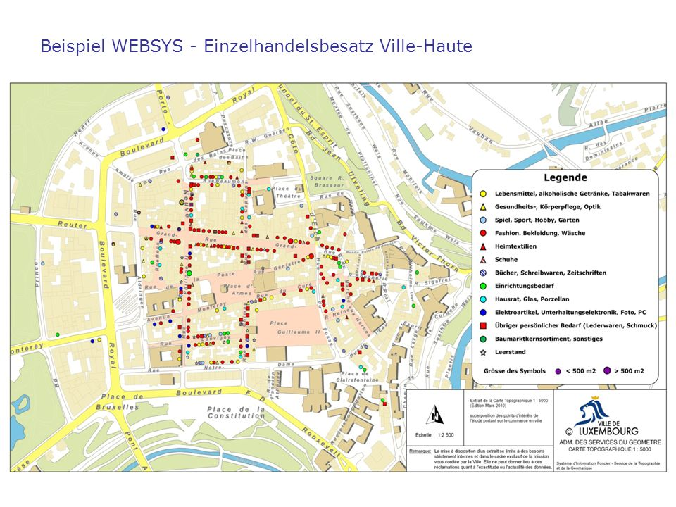 Beispiel WEBSYS - Einzelhandelsbesatz Ville-Haute