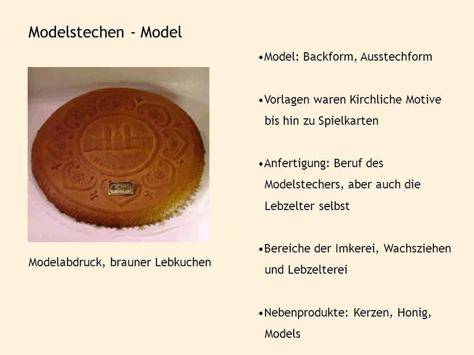 Modelstechen - Model Model: Backform, Ausstechform Vorlagen waren Kirchliche Motive bis hin zu Spielkarten Anfertigung: Beruf des Modelstechers, aber