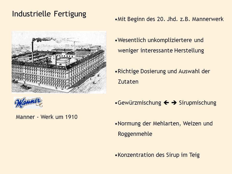 Industrielle Fertigung Mit Beginn des 20. Jhd. z.B. Mannerwerk Wesentlich unkompliziertere und weniger interessante Herstellung Richtige Dosierung und