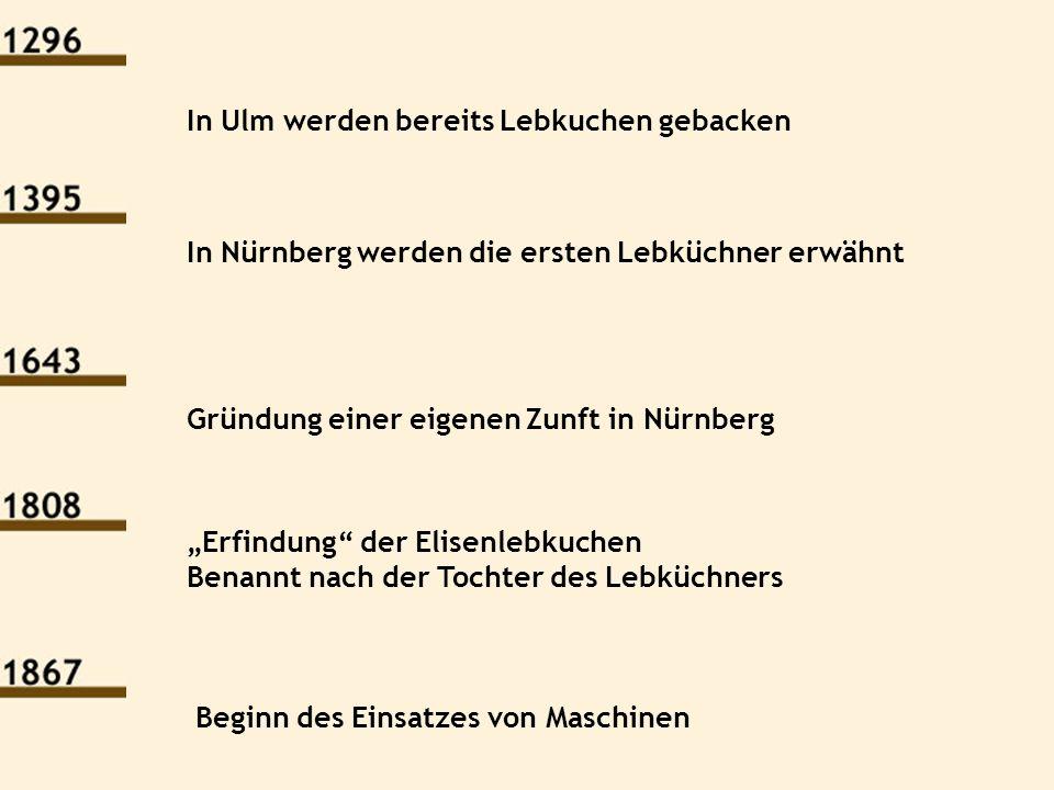 In Ulm werden bereits Lebkuchen gebacken In Nürnberg werden die ersten Lebküchner erwähnt Gründung einer eigenen Zunft in Nürnberg Erfindung der Elise