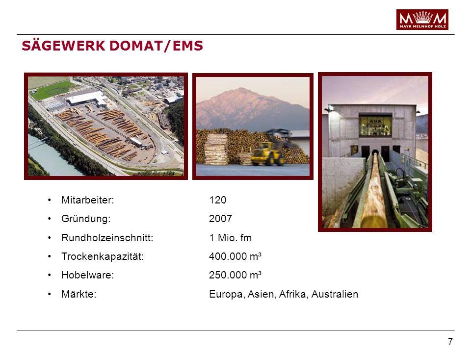 7 SÄGEWERK DOMAT/EMS Mitarbeiter:120 Gründung:2007 Rundholzeinschnitt:1 Mio. fm Trockenkapazität:400.000 m³ Hobelware:250.000 m³ Märkte:Europa, Asien,