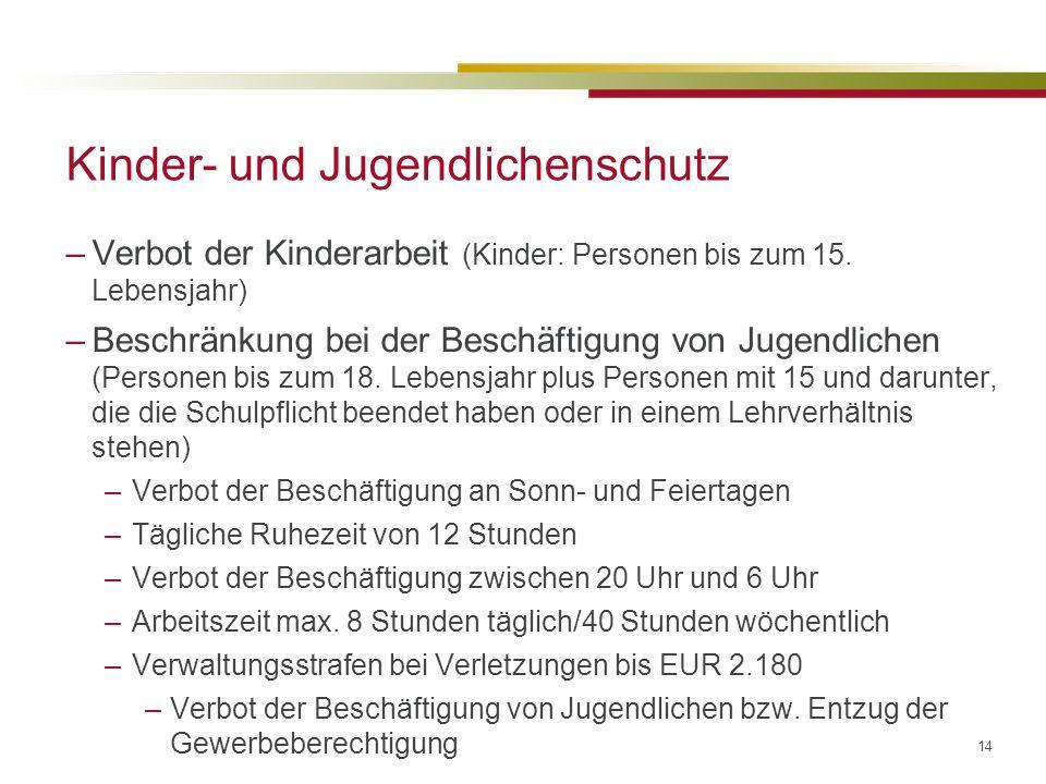 14 Kinder- und Jugendlichenschutz –Verbot der Kinderarbeit (Kinder: Personen bis zum 15.