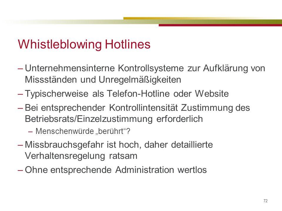 72 Whistleblowing Hotlines –Unternehmensinterne Kontrollsysteme zur Aufklärung von Missständen und Unregelmäßigkeiten –Typischerweise als Telefon-Hotline oder Website –Bei entsprechender Kontrollintensität Zustimmung des Betriebsrats/Einzelzustimmung erforderlich –Menschenwürde berührt.