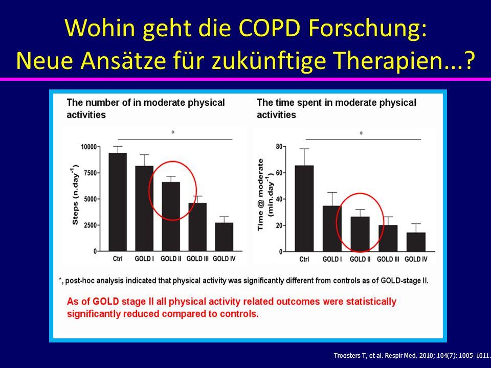 Troosters T, et al. Respir Med. 2010; 104(7): 1005–1011. Wohin geht die COPD Forschung: Neue Ansätze für zukünftige Therapien...?