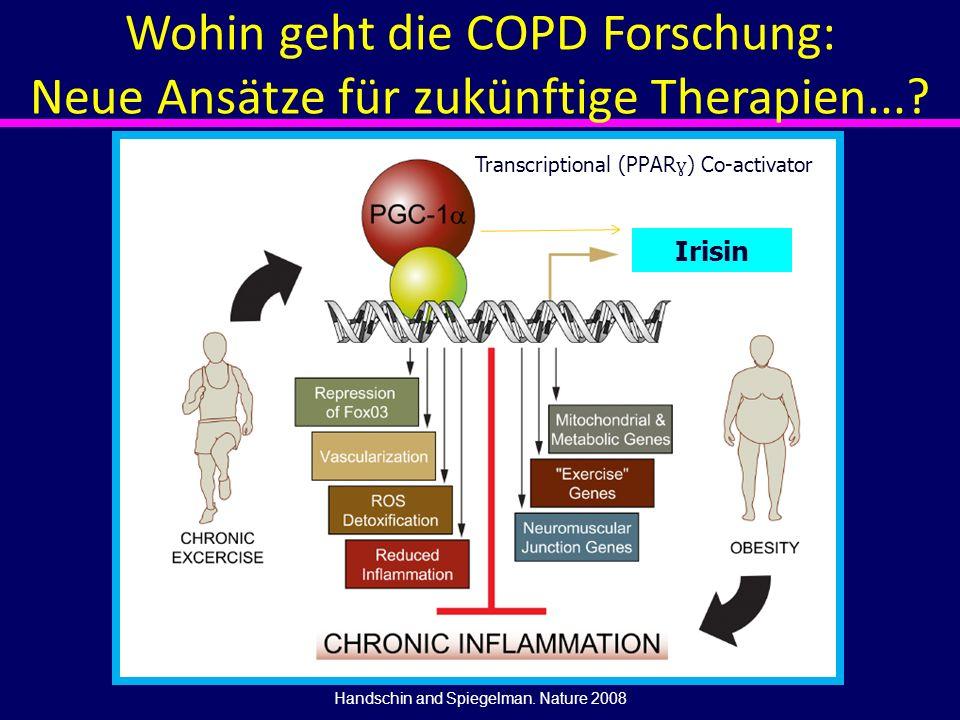 Irisin Handschin and Spiegelman. Nature 2008 Transcriptional (PPAR ɣ ) Co-activator Wohin geht die COPD Forschung: Neue Ansätze für zukünftige Therapi