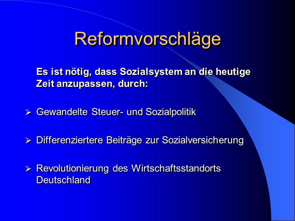 ReformvorschlägeReformvorschläge Es ist nötig, dass Sozialsystem an die heutige Zeit anzupassen, durch: Gewandelte Steuer- und Sozialpolitik Differenz