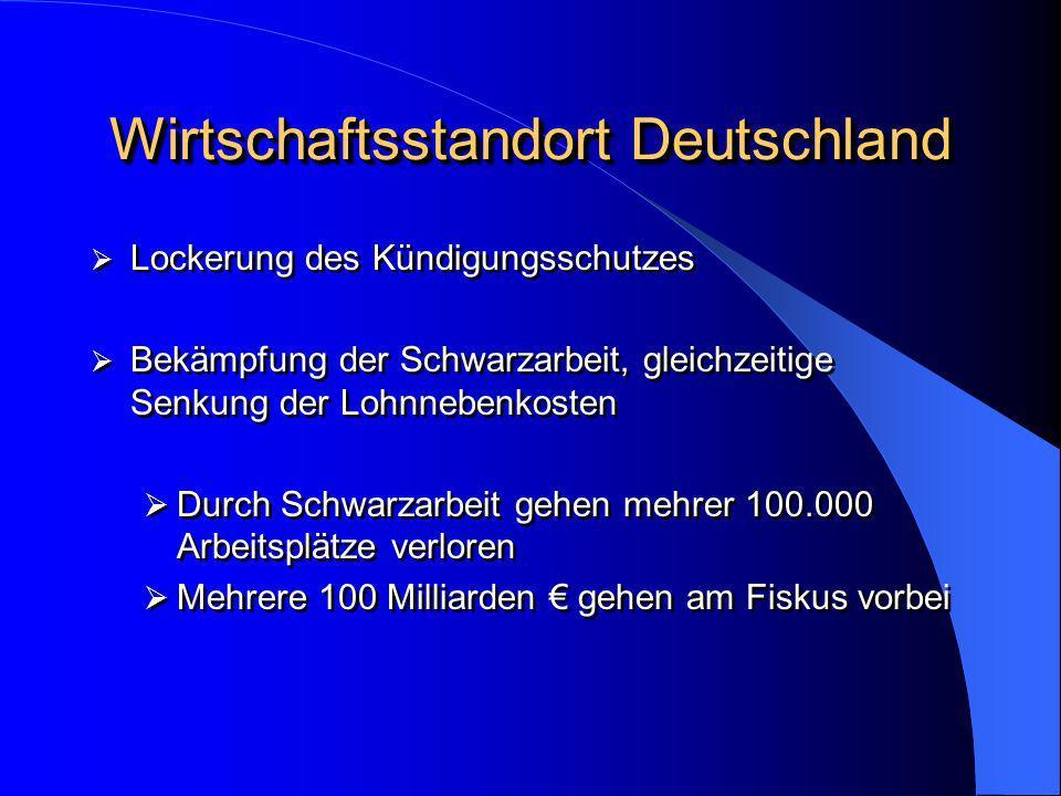 Wirtschaftsstandort Deutschland Lockerung des Kündigungsschutzes Bekämpfung der Schwarzarbeit, gleichzeitige Senkung der Lohnnebenkosten Durch Schwarz
