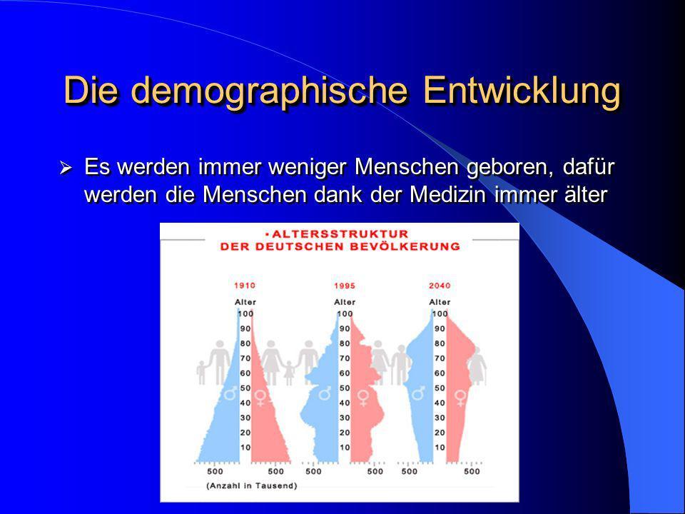 Die demographische Entwicklung Es werden immer weniger Menschen geboren, dafür werden die Menschen dank der Medizin immer älter