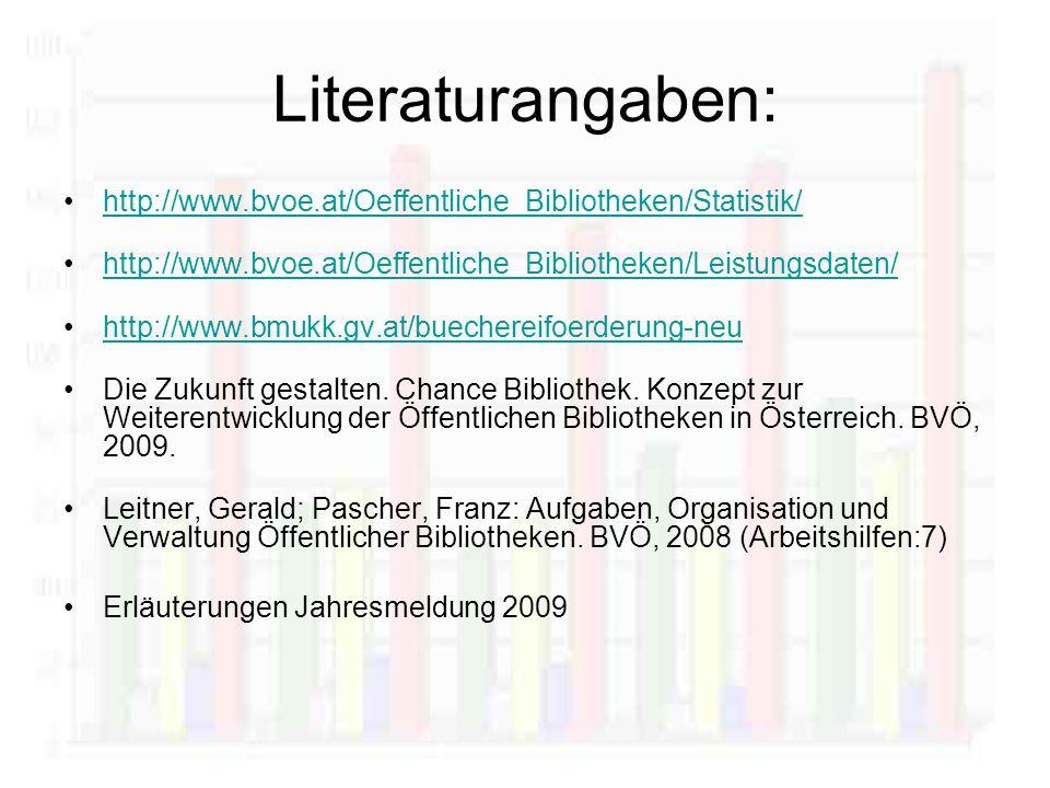 Literaturangaben: http://www.bvoe.at/Oeffentliche_Bibliotheken/Statistik/ http://www.bvoe.at/Oeffentliche_Bibliotheken/Leistungsdaten/ http://www.bmukk.gv.at/buechereifoerderung-neu Die Zukunft gestalten.