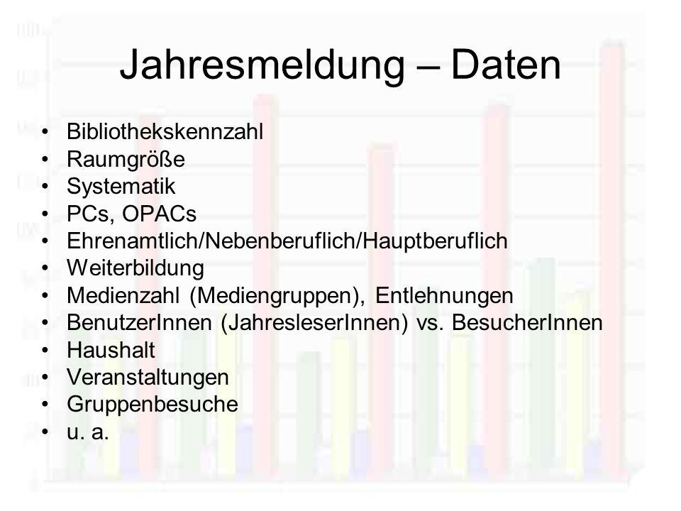 Jahresmeldung – Daten Bibliothekskennzahl Raumgröße Systematik PCs, OPACs Ehrenamtlich/Nebenberuflich/Hauptberuflich Weiterbildung Medienzahl (Mediengruppen), Entlehnungen BenutzerInnen (JahresleserInnen) vs.