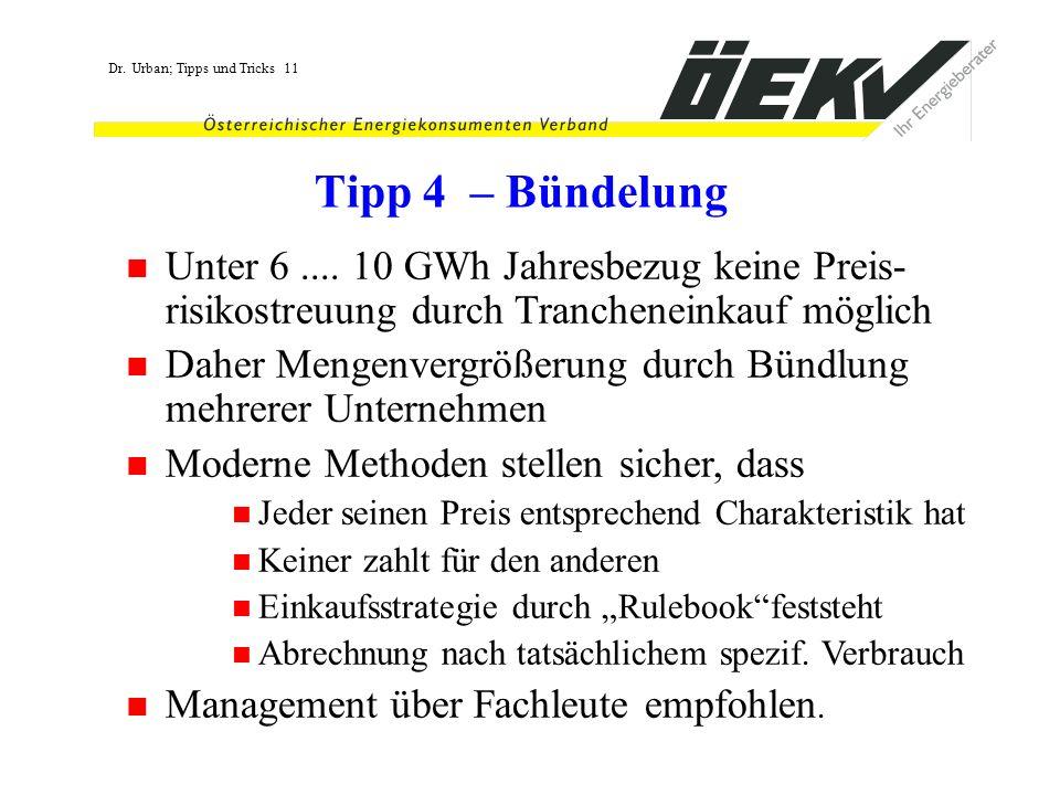 Dr. Urban; Tipps und Tricks 11 Tipp 4 – Bündelung Unter 6.... 10 GWh Jahresbezug keine Preis- risikostreuung durch Trancheneinkauf möglich Daher Menge