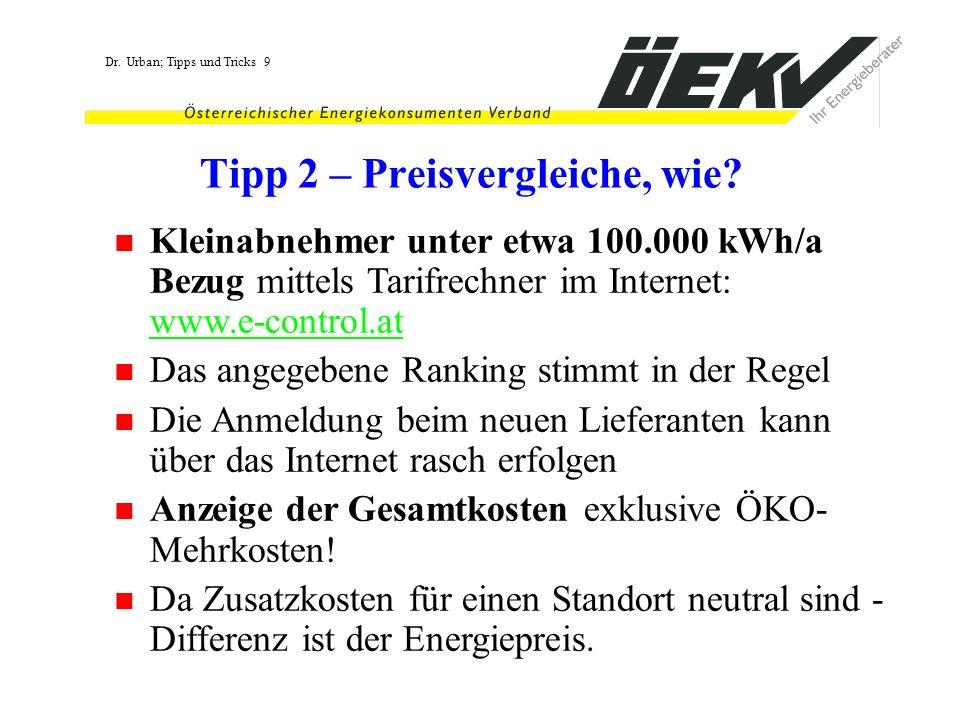 Dr. Urban; Tipps und Tricks 9 Tipp 2 – Preisvergleiche, wie? Kleinabnehmer unter etwa 100.000 kWh/a Bezug mittels Tarifrechner im Internet: www.e-cont
