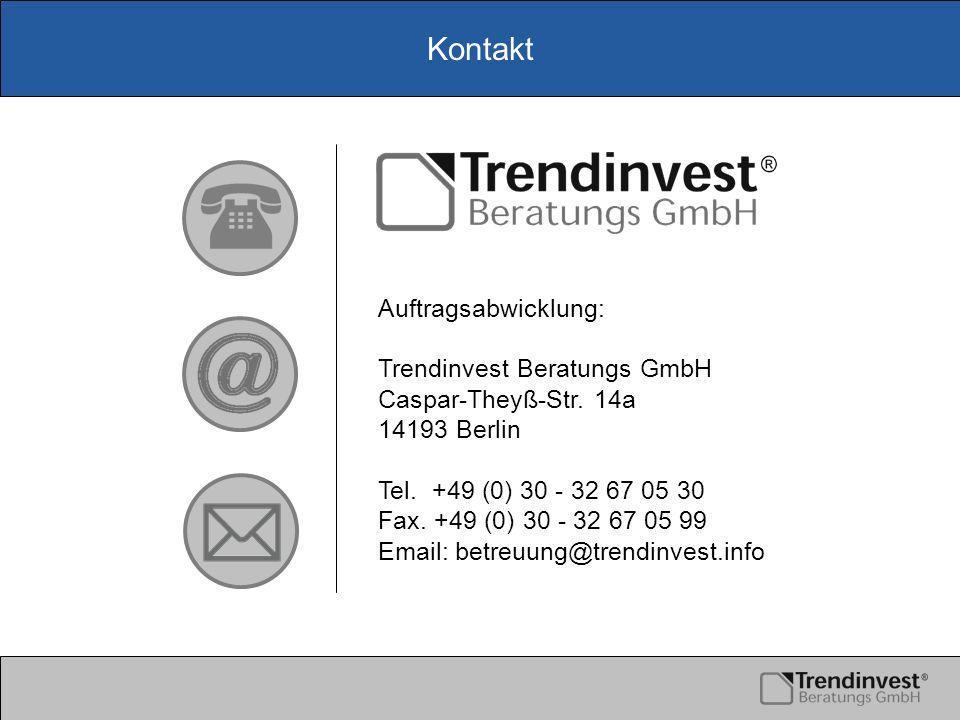 Kontakt Auftragsabwicklung: Trendinvest Beratungs GmbH Caspar-Theyß-Str.