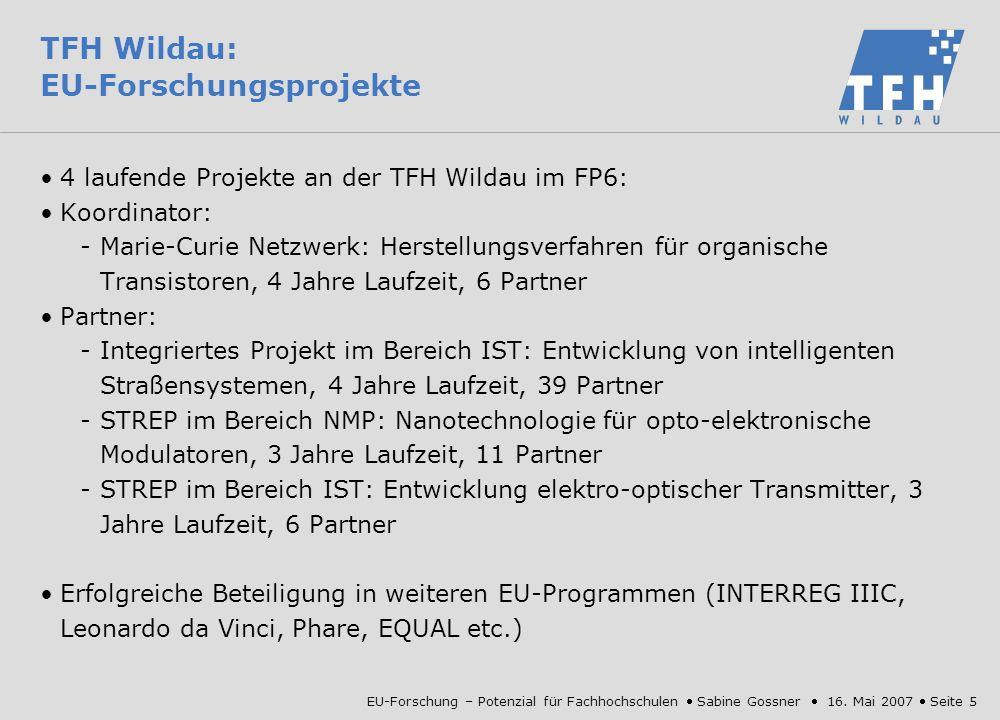 EU-Forschung – Potenzial für Fachhochschulen Sabine Gossner 16.