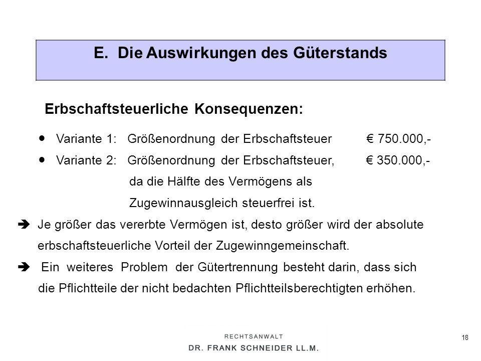 18 E. Die Auswirkungen des Güterstands Variante 1: Größenordnung der Erbschaftsteuer 750.000,- Variante 2: Größenordnung der Erbschaftsteuer, 350.000,