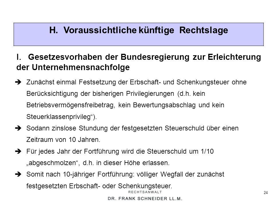 24 H. Voraussichtliche künftige Rechtslage Zunächst einmal Festsetzung der Erbschaft- und Schenkungsteuer ohne Berücksichtigung der bisherigen Privile