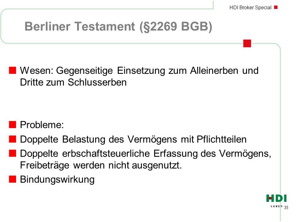HDI Broker Special 35 Berliner Testament (§2269 BGB) nWesen: Gegenseitige Einsetzung zum Alleinerben und Dritte zum Schlusserben nProbleme: nDoppelte