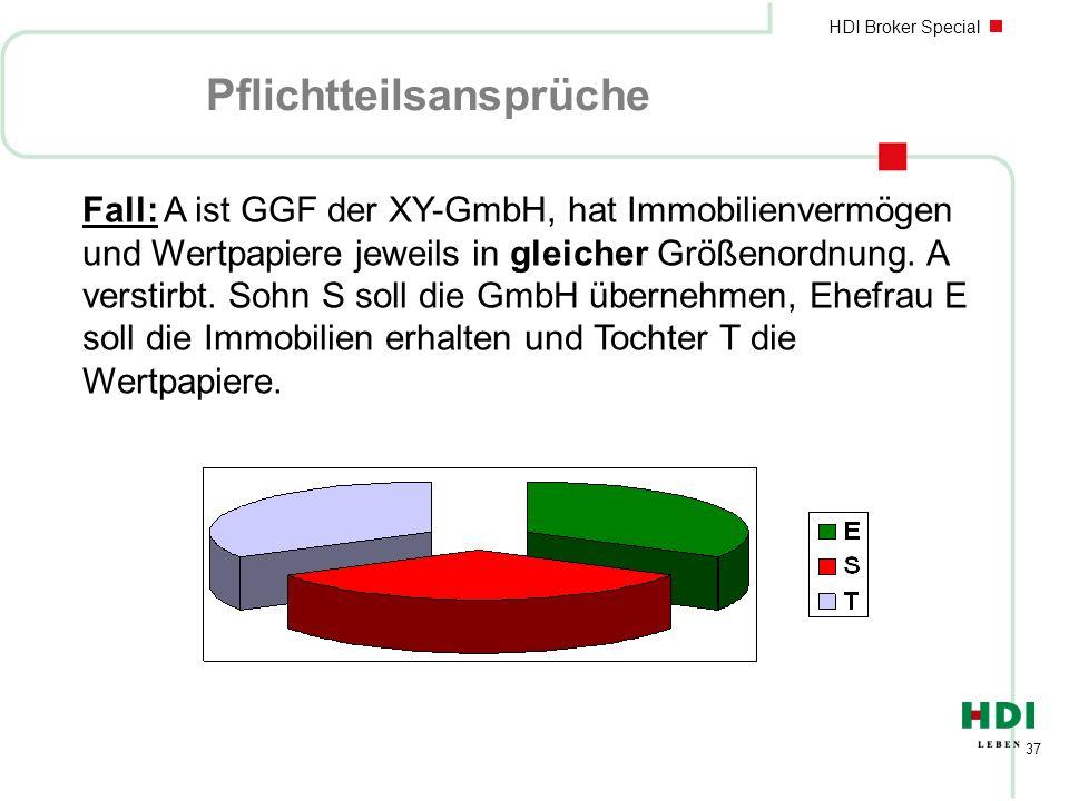 HDI Broker Special 37 Pflichtteilsansprüche Fall: A ist GGF der XY-GmbH, hat Immobilienvermögen und Wertpapiere jeweils in gleicher Größenordnung. A v