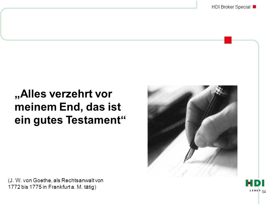 HDI Broker Special 54 Alles verzehrt vor meinem End, das ist ein gutes Testament (J. W. von Goethe, als Rechtsanwalt von 1772 bis 1775 in Frankfurt a.