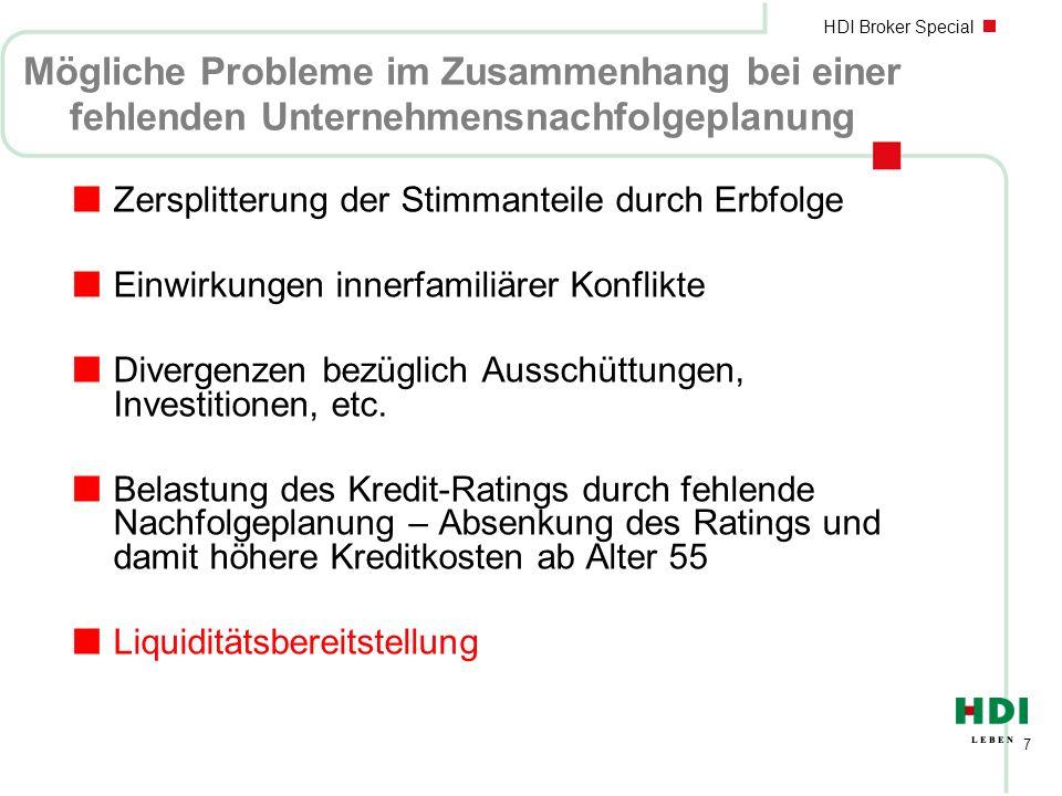 HDI Broker Special 7 Mögliche Probleme im Zusammenhang bei einer fehlenden Unternehmensnachfolgeplanung nZersplitterung der Stimmanteile durch Erbfolg