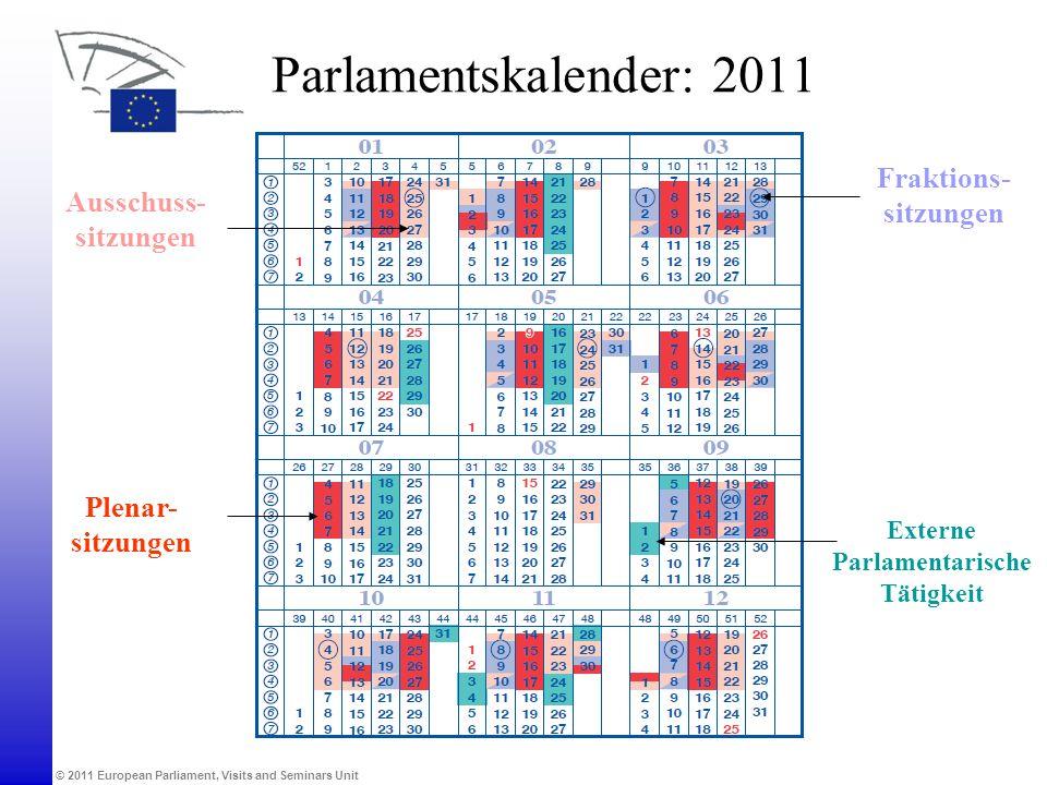 © 2011 European Parliament, Visits and Seminars Unit Parlamentskalender: 2011 Plenar- sitzungen Ausschuss- sitzungen Externe Parlamentarische Tätigkei