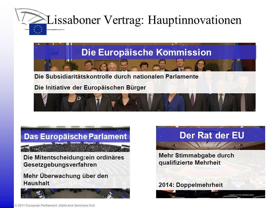 © 2011 European Parliament, Visits and Seminars Unit Die Europäische Kommission Lissaboner Vertrag: Hauptinnovationen Das Europäische Parlament Die Mi