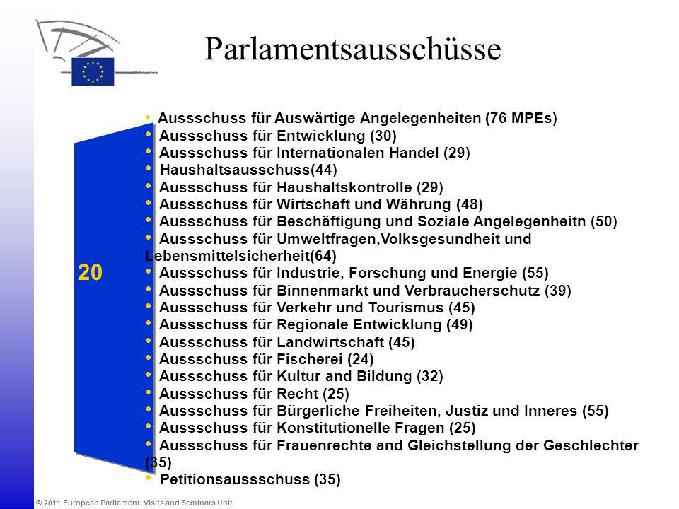 © 2011 European Parliament, Visits and Seminars Unit Parlamentsausschüsse Aussschuss für Auswärtige Angelegenheiten (76 MPEs) Aussschuss für Entwicklu