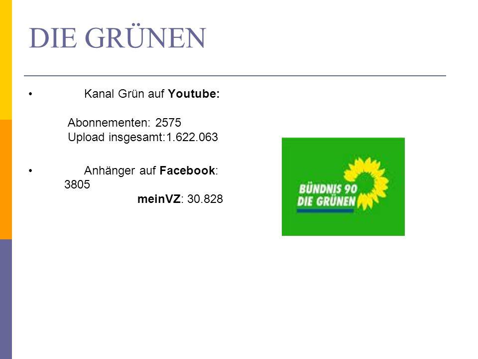 DIE GRÜNEN Kanal Grün auf Youtube: Abonnementen: 2575 Upload insgesamt:1.622.063 Anhänger auf Facebook: 3805 meinVZ: 30.828