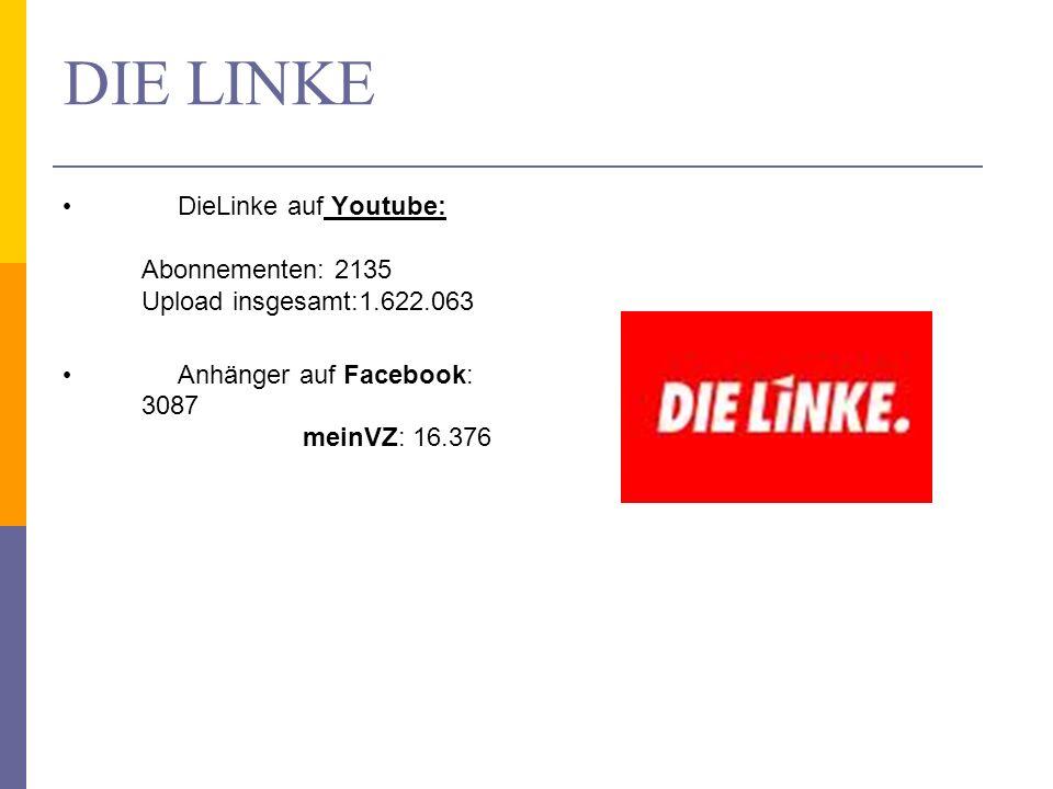 DIE LINKE DieLinke auf Youtube: Abonnementen: 2135 Upload insgesamt:1.622.063 Anhänger auf Facebook: 3087 meinVZ: 16.376