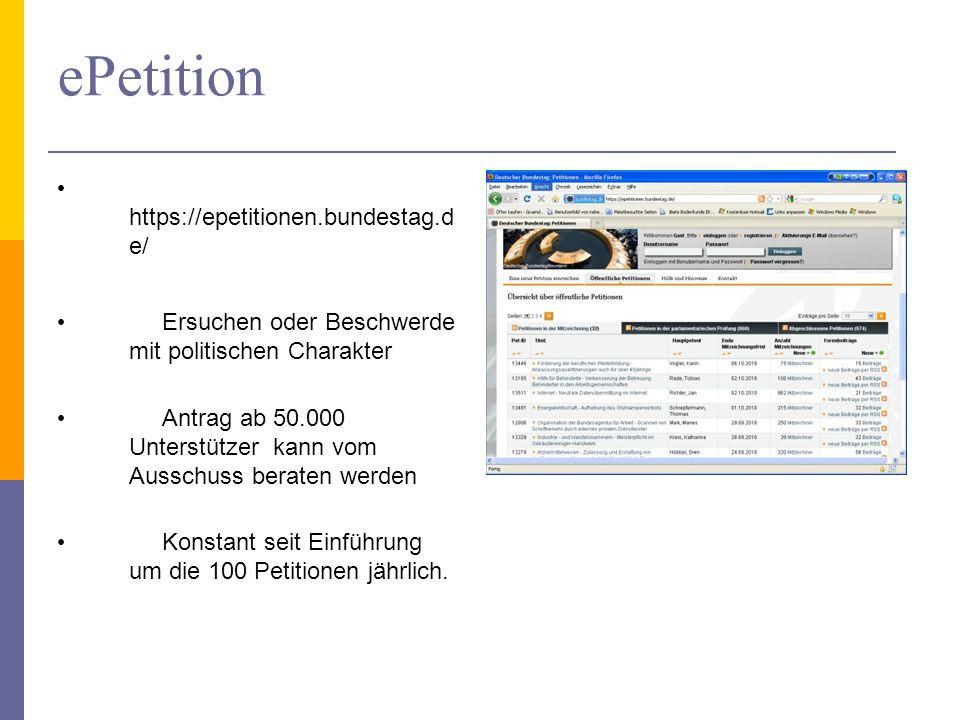ePetition https://epetitionen.bundestag.d e/ Ersuchen oder Beschwerde mit politischen Charakter Antrag ab 50.000 Unterstützer kann vom Ausschuss beraten werden Konstant seit Einführung um die 100 Petitionen jährlich.