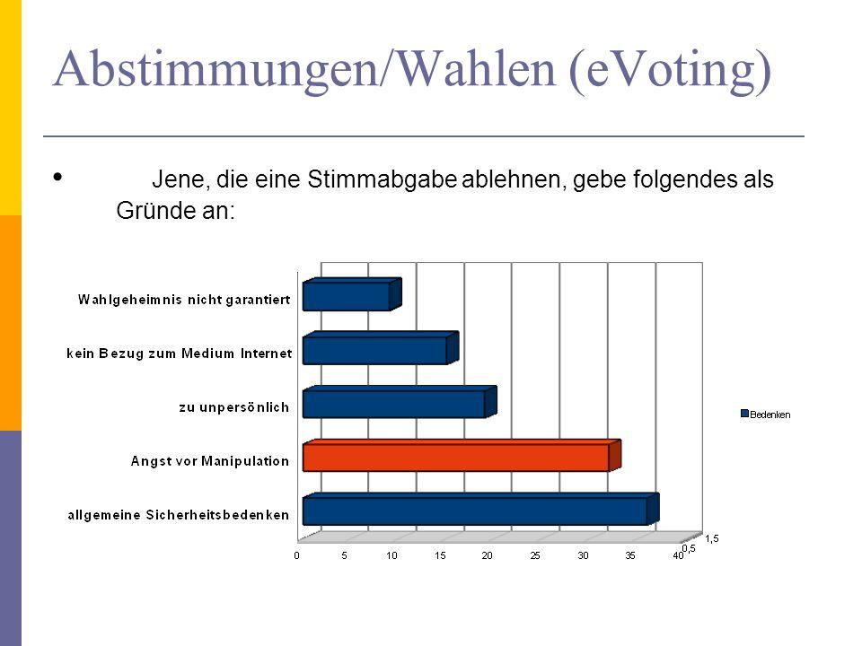 Abstimmungen/Wahlen (eVoting) Jene, die eine Stimmabgabe ablehnen, gebe folgendes als Gründe an: