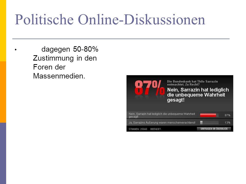 Politische Online-Diskussionen dagegen 50-80% Zustimmung in den Foren der Massenmedien.
