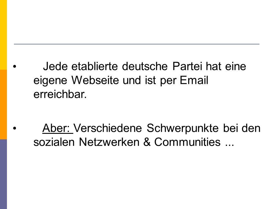 Jede etablierte deutsche Partei hat eine eigene Webseite und ist per Email erreichbar.