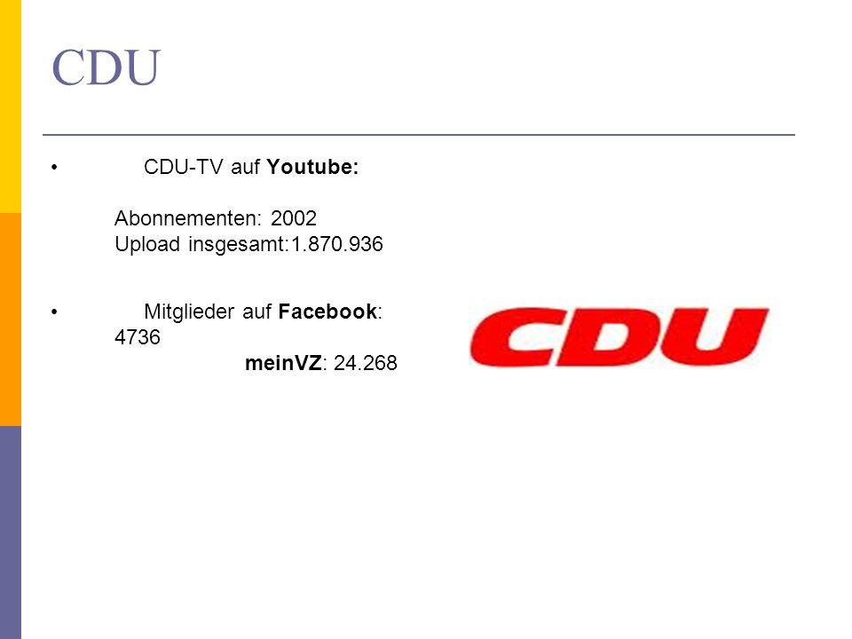CDU CDU-TV auf Youtube: Abonnementen: 2002 Upload insgesamt:1.870.936 Mitglieder auf Facebook: 4736 meinVZ: 24.268