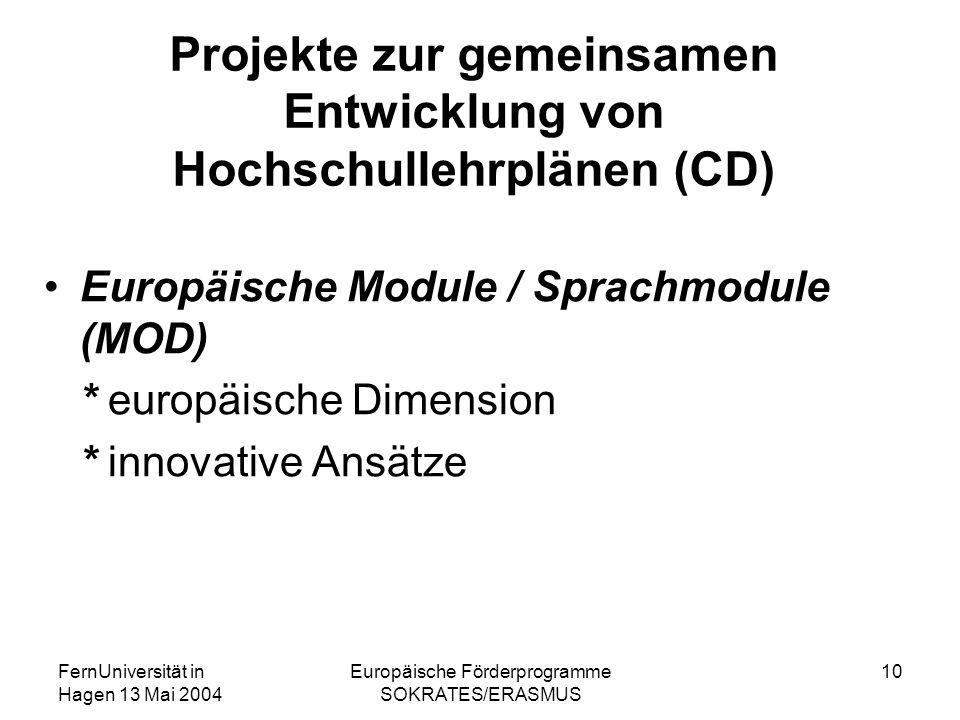FernUniversität in Hagen 13 Mai 2004 Europäische Förderprogramme SOKRATES/ERASMUS 10 Projekte zur gemeinsamen Entwicklung von Hochschullehrplänen (CD)