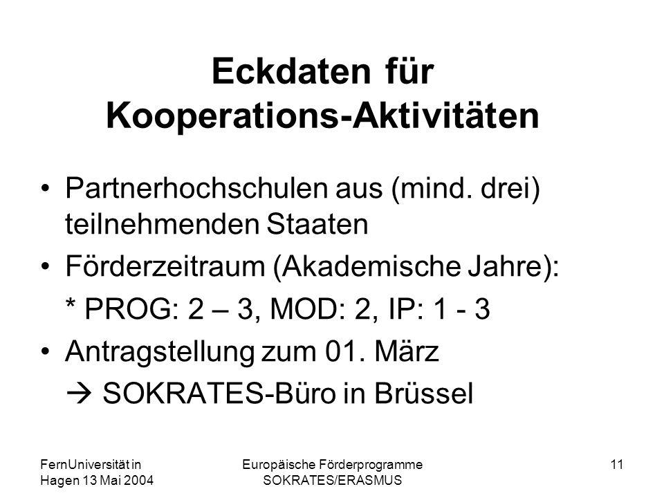 FernUniversität in Hagen 13 Mai 2004 Europäische Förderprogramme SOKRATES/ERASMUS 11 Eckdaten für Kooperations-Aktivitäten Partnerhochschulen aus (mind.