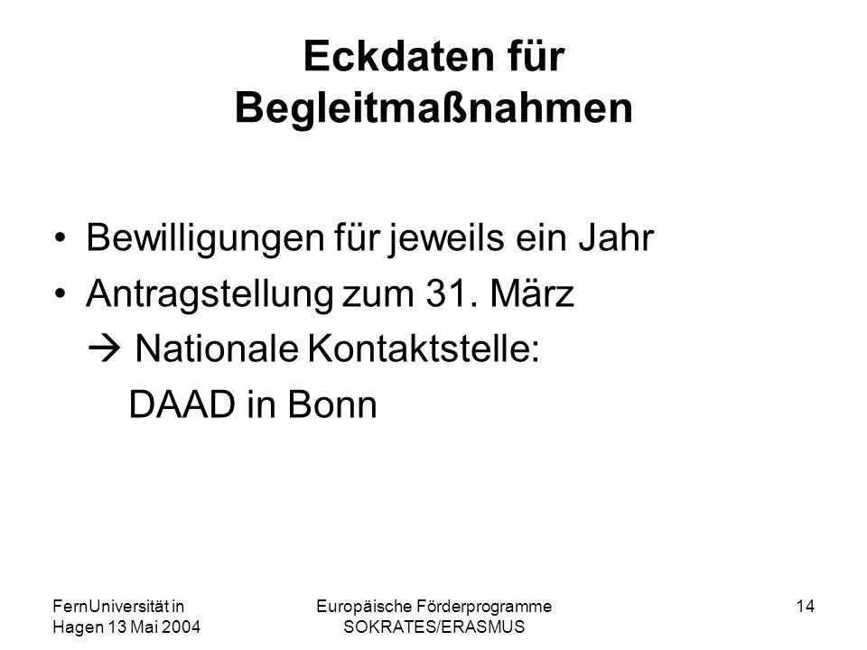 FernUniversität in Hagen 13 Mai 2004 Europäische Förderprogramme SOKRATES/ERASMUS 14 Eckdaten für Begleitmaßnahmen Bewilligungen für jeweils ein Jahr Antragstellung zum 31.